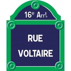 Plaque de rue émaillée Paris 40 x 35 cm avec fronton.