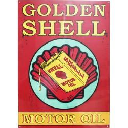 Plaque métal publicitaire 30x40cm plate : GOLDEN SHELL MOTOR OIL.
