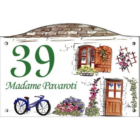 Plaque émaillée 13,5 x 20 cm : Décor bicyclette bleue