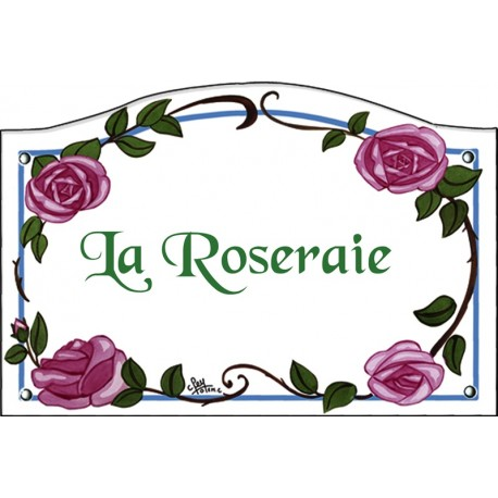 Plaque émaillée 13,5 x 20 cm : Décor ROSES