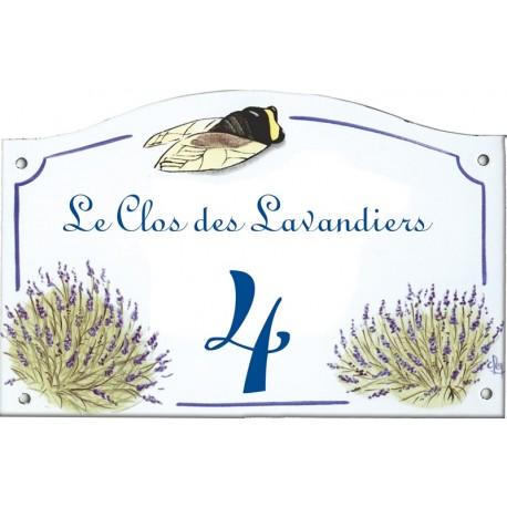 Plaque émaillée 13,5 x 20 cm : Décor LAVANDES