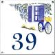 Plaque émaillée 15 x 15 cm : Décor Bicyclette bleue