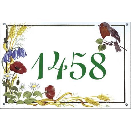 Plaque émaillée 15 x 22 cm : Décor Fleurs des Champs