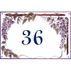 Plaque émaillée 15 x 22 cm : Décor Les Glycines