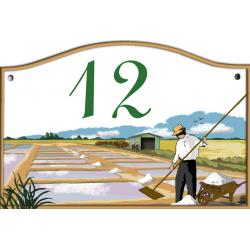 Plaque émaillée 13 x 20 cm : Décor MARAIS SALANTS