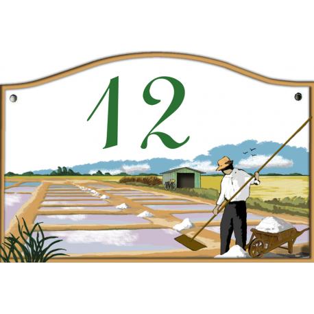 Plaque émaillée 13,5 x 20 cm : Décor MARAIS SALANTS