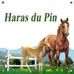 Plaque émaillée 15 x 15 cm : Décor Chevaux