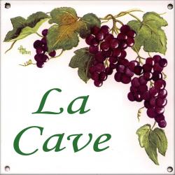 Plaque émaillée 15 x 15 cm : Décor Vignes