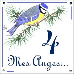 Plaque émaillée 15 x 15 cm : Décor Mésange bleue