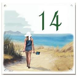 Plaque émaillée 15 x 15 cm : Décor plage