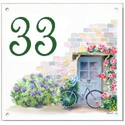 Plaque émaillée 15 x 15 cm : Décor façade avec vélo