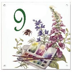 Plaque émaillée 15 x 15 cm : Décors peinture