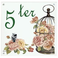 Plaque émaillée 15 x 15 cm : Décor cage aux oiseaux