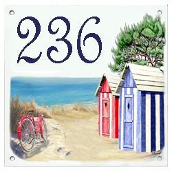 Plaque émaillée 15 x 15 cm : Décor plage vélo rouge