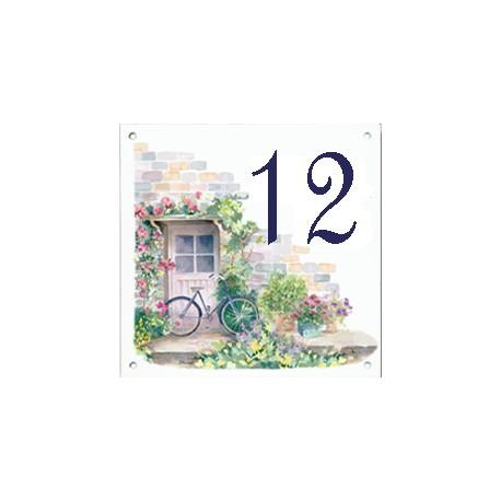 Plaque émaillée 15 x 15 cm : Décor façade avec vélo bleu