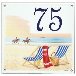 Plaque émaillée 15 x 15 cm : Décor transat plage