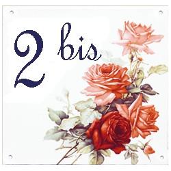 Plaque émaillée 15 x 15 cm : Décor Bouquet de roses