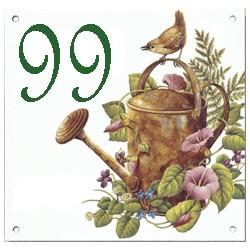 Plaque émaillée 15 x 15 cm : Décor vieux arrosoir