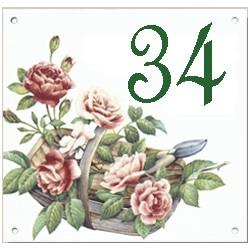 Plaque émaillée 15 x 15 cm : Décor Panier de fleurs