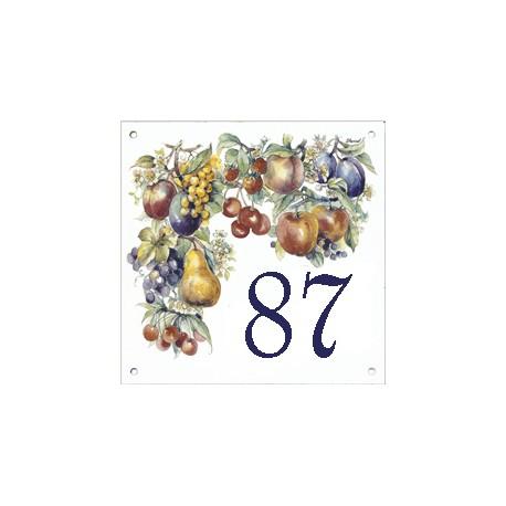 Plaque émaillée 15 x 15 cm : Décor Fruits