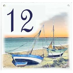 Plaque émaillée 15 x 15 cm : Décor bateaux échoués