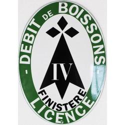 Plaque émaillée Licence Débit Boisson Finistère (décoration, sans repiquage)