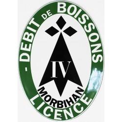 Plaque émaillée  Licence Débit Boisson Morbihan (décoration, sans repiquage)