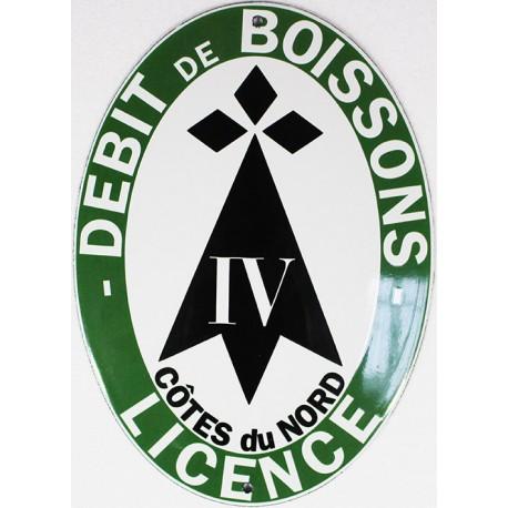 Plaque émaillée Licence Débit Boisson Côtes du Nord (décoration, sans repiquage)