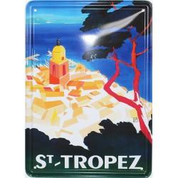 Plaque métal publicitaire 15x21cm bombée :  ST. TROPEZ