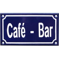 Plaque émaillée de 10x15cm plate, faitE au pochoir : CAFÉ - BAR.