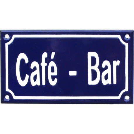Plaque émaillée de 10x18cm plate, faite au pochoir : CAFÉ - BAR.
