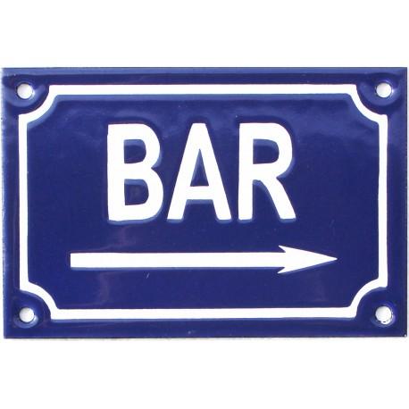 plaque de rue émaillée 10 x 15 cm faite au pochoir  :  BAR A DROITE.