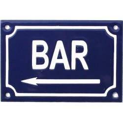 plaque de rue émaillée de 10 x 15 cm faite au pochoir : BAR A GAUCHE