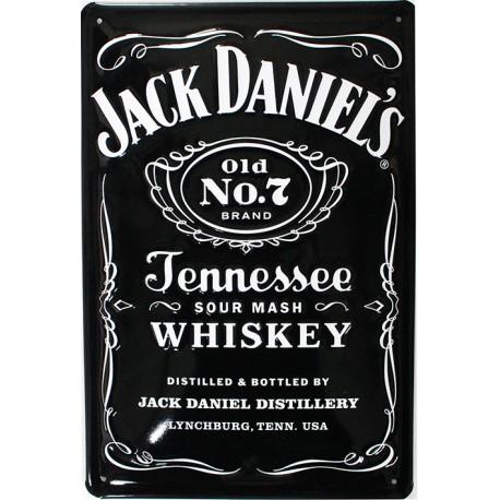 Plaque métal publicitaire 20x30cm bombée en relief : Jack Daniel's Tennessee