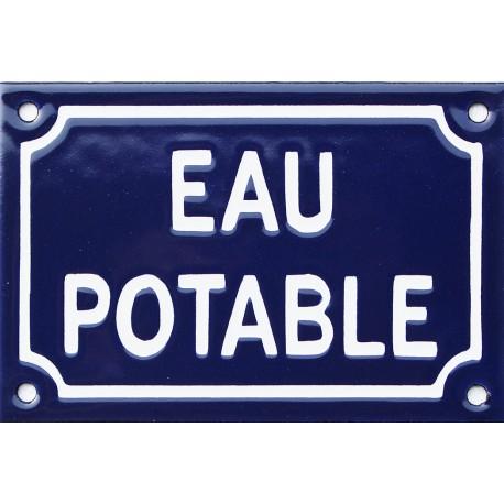 Plaque de rue émaillée 10x15cm  faite au pochoir : EAU POTABLE.