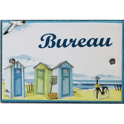 Plaque de porte émaillée plate de 10,5 x 7cm décor plage : BUREAU.