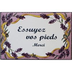 Plaque de porte émaillée plate de 10,5 x 7cm décor lavandes : ESSUYEZ VOS PIEDS.