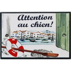Plaque de porte émaillée plate de 10,5 x 7cm décor Port : ATTENTION AU CHIEN !