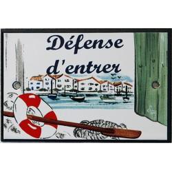Plaque de porte émaillée plate de 10,5 x 7cm décor Port : DÉFENSE D'ENTRER.