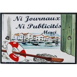 Plaque de porte émaillée plate de 10,5 x 7cm décor Port : NI JOURNAUX NI PUBLICITÉ.