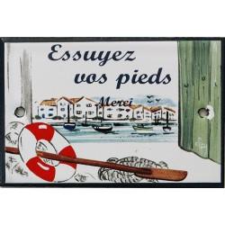 Plaque de porte émaillée plate de 10,5 x 7cm décor Port : ESSUYEZ VOS PIEDS.