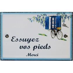 Plaque de porte émaillée plate de 10,5 x 7cm décor Volets bleus : ESSUYEZ VOS PIEDS.