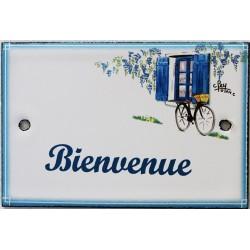 Plaque de porte émaillée plate de 10,5 x 7cm décor Volets bleus : BIENVENUE.