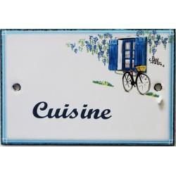 Plaque de porte émaillée plate de 10,5 x 7cm décor Volets bleus : CUISINE.