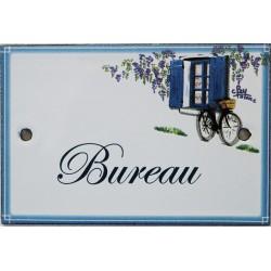 Plaque de porte émaillée plate de 10,5 x 7cm décor Volets bleus :  BUREAU.