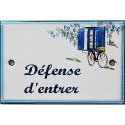 Plaque de porte émaillée plate de 10,5 x 7cm décor Volets bleus :  DÉFENSE D'ENTRER.