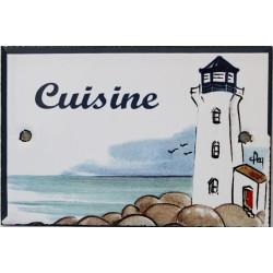 Plaque de porte émaillée plate de 10,5 x 7cm décor phare bleu : CUISINE.