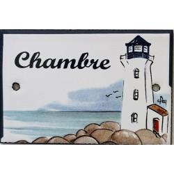 Plaque de porte émaillée plate de 10,5 x 7cm décor phare bleu :  CHAMBRE.