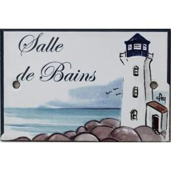 Plaque de porte émaillée plate de 10,5 x 7cm décor phare bleu :  SALLE DE BAIN.