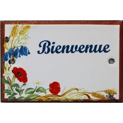 Plaque de porte émaillée plate de 10,5 x 7cm décor Fleurs des champs :  BIENVENUE.
